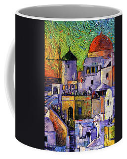 Santorini Oia Village Impressionist Palette Knives Oil Painting Coffee Mug