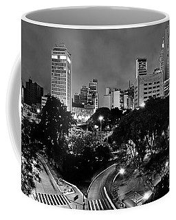 Sao Paulo Downtown At Night In Black And White - Correio Square Coffee Mug