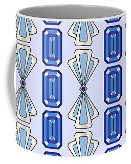 Coffee Mug featuring the digital art Sapphire Deco Stripe by MM Anderson