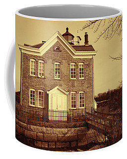 Coffee Mug featuring the photograph Saugerties Lighthouse Sepia by Nancy De Flon
