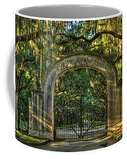 Coffee Mug featuring the photograph Savannah's Wormsloe Plantation Gate Live Oak Alley Art by Reid Callaway