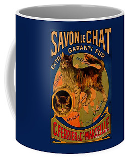 Savon Le Chat Antique French Poster Coffee Mug