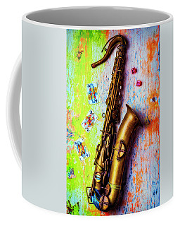 Sax And Old Playing Cards Coffee Mug