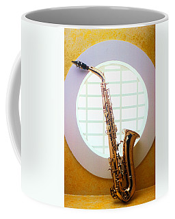 Saxophone In Round Window Coffee Mug