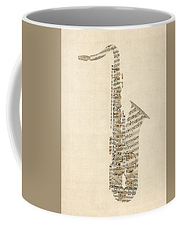 Saxophone Old Sheet Music Coffee Mug