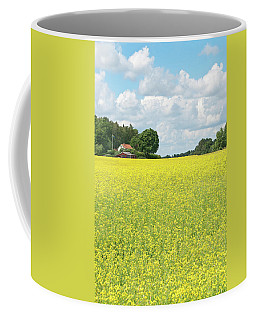 Scandinavian Summer Landscape With Yellow Meadow Coffee Mug