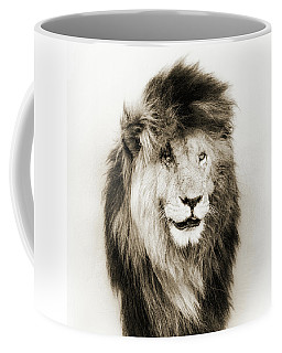 Scar Lion Closeup Square Sepia Coffee Mug