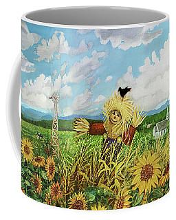 Scare Crow And Silo Farm Coffee Mug by Bonnie Siracusa