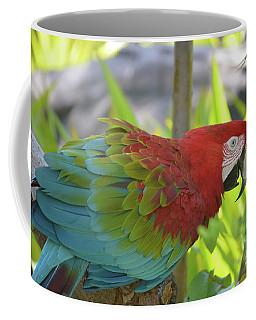 Scarlet Macaw Perched In A Tropical Tree Coffee Mug by DejaVu Designs
