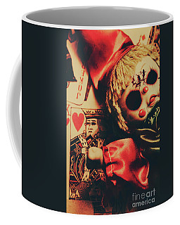 Scary Doll Dressed As Joker On Playing Card Coffee Mug