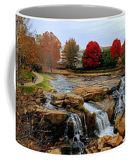 Scene From The Falls Park Bridge In Greenville, Sc Coffee Mug by Kathy Barney