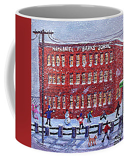 Coffee Mug featuring the painting School Banks Square by Rita Brown