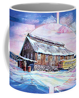 School Bus And Barn Coffee Mug