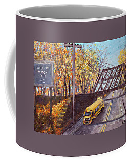 Coffee Mug featuring the painting School Bus On Linden Street by Rita Brown