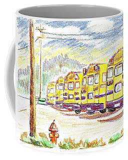 Coffee Mug featuring the mixed media School Bussiness by Kip DeVore