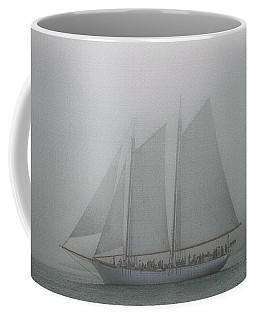 Schooner In Fog Coffee Mug