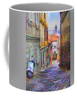 Coffee Mug featuring the digital art Scooter Alley After Rain by Kai Saarto