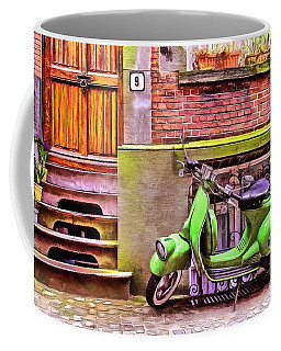 Coffee Mug featuring the painting Scooter Parking Only by Edward Fielding