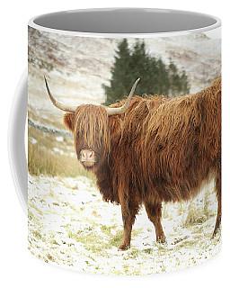 Scottish Red Highland Cow In Winter Coffee Mug