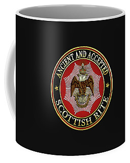Scottish Rite Double-headed Eagle On Black Leather Coffee Mug