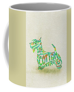 Coffee Mug featuring the painting Scottish Terrier Dog Watercolor Painting / Typographic Art by Ayse and Deniz