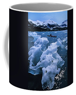 Sea Kayaking Past Ice Bergs In A Small Coffee Mug