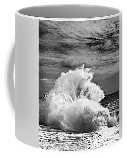 Seagull And A Wave Bw Coffee Mug by Michael Cinnamond