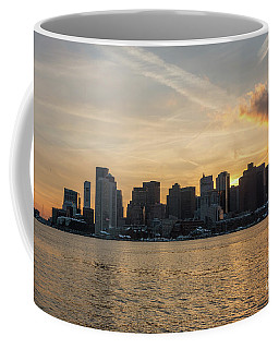 Seagull Flying At Sunset With The Skyline Of Boston On The Backg Coffee Mug