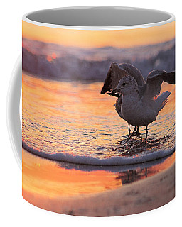 Coffee Mug featuring the photograph Seagull Stretch At Sunrise by Robert Banach
