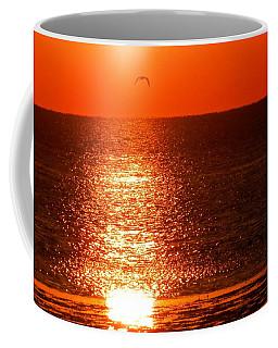 Seagulls Flying Red Golden Sunset Coffee Mug