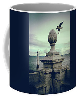 Coffee Mug featuring the photograph Seagulls In Columns Dock by Carlos Caetano