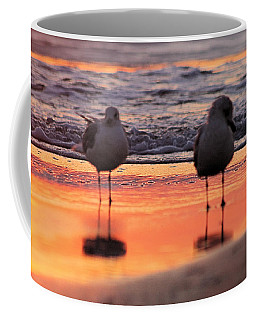 Seagulls On An Orange Beach Coffee Mug