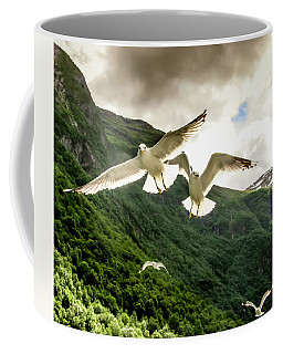 Seagulls Over The Fjord Coffee Mug