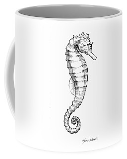 Coffee Mug featuring the drawing Seahorse Black And White Sketch by Karen Whitworth