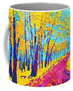 Coffee Mug featuring the painting Searching Within 2 Enchanted Forest Series - Modern Impressionist Landscape Painting Palette Knife by Patricia Awapara