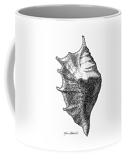 Coffee Mug featuring the drawing Seashell 1 - Nautical Beach Drawing by Karen Whitworth