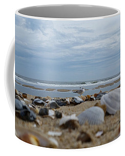 Coffee Mug featuring the photograph Seashells Seagull Seashore by Robert Banach