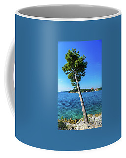 Seaside Leaning Tree In Rovinj, Croatia Coffee Mug