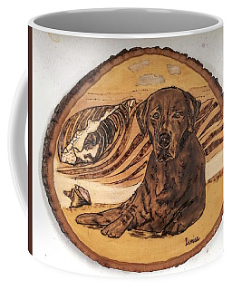 Coffee Mug featuring the pyrography Seaside Sam by Denise Tomasura