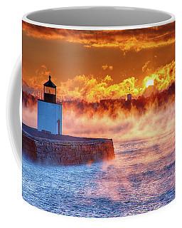 Seasmoke At Salem Lighthouse Coffee Mug