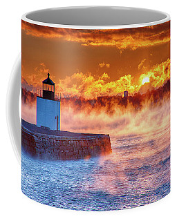 Seasmoke At Salem Lighthouse Coffee Mug by Jeff Folger