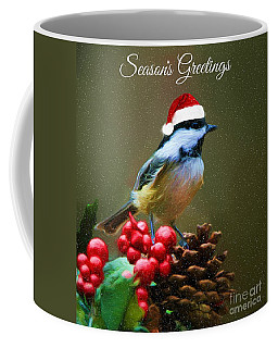 Seasons Greetings Chickadee Coffee Mug by Tina LeCour