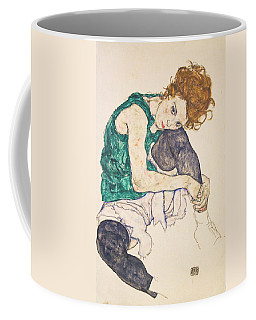 Coffee Mug featuring the drawing Seated Woman With Legs Drawn Up by Egon Schiele