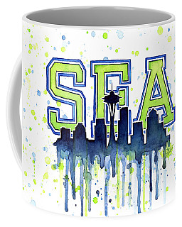 Seattle Watercolor 12th Man Art Painting Space Needle Go Seahawks Coffee Mug