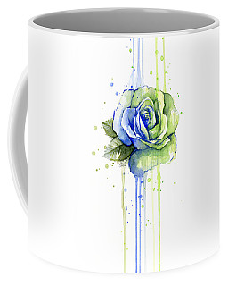 Seattle 12th Man Seahawks Watercolor Rose Coffee Mug