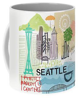 Seattle Cityscape- Art By Linda Woods Coffee Mug