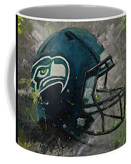 Coffee Mug featuring the painting Seattle Seahawks Football Helmet Wall Art by Gray Artus
