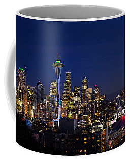 Coffee Mug featuring the photograph Seattle Seahawks Space Needle by Mary Jo Allen