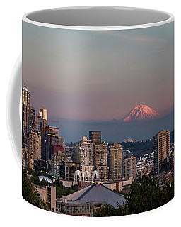 Coffee Mug featuring the photograph Seattle Skyline And Mt. Rainier Panoramic Hd by Adam Romanowicz