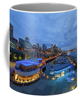 Seattle Skyline From The Waterfront At Blue Hour Coffee Mug